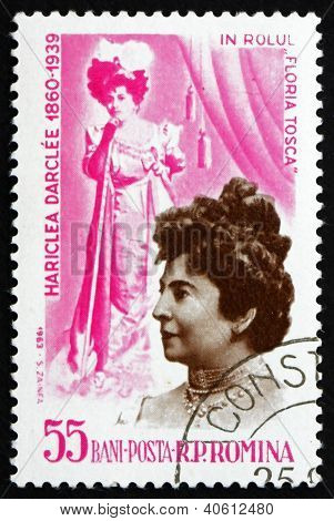 Postage stamp Romania 1964 Hariclea Darclee as Tosca
