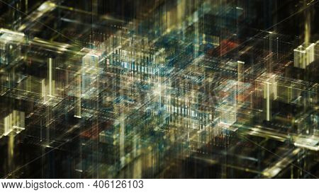 Abstract digital art background. Fractal graphics 3d illustration. Science or technology concept.