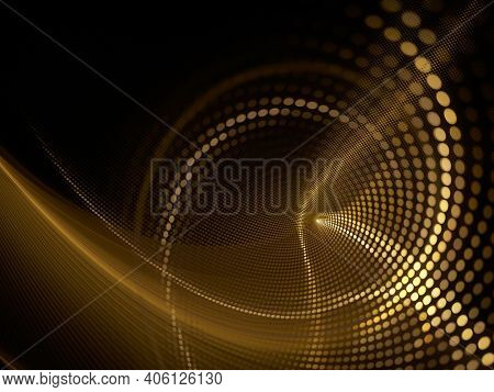 Abstract dark background. Digital art fractal graphics. Composition of glowing lines and mosaic halftone effects. 3d illustration.