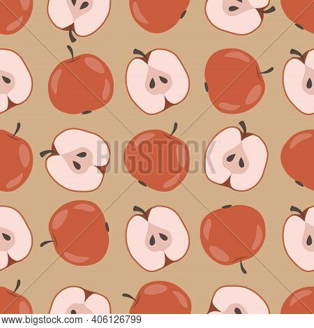 Apple Seamless Pattern. Red Apples, Halfs Apple And Apple Seeds On Beige Background. Hand-drawing De
