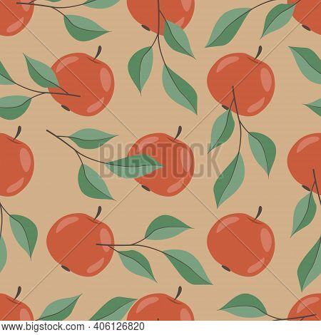 Apple Seamless Pattern. Red Apples And Apple Branches On Beige Background. Hand-drawing Design For P