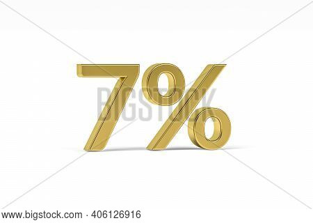 Gold Digit Seven With Percent Sign - 7% Isolated On White - 3d Render