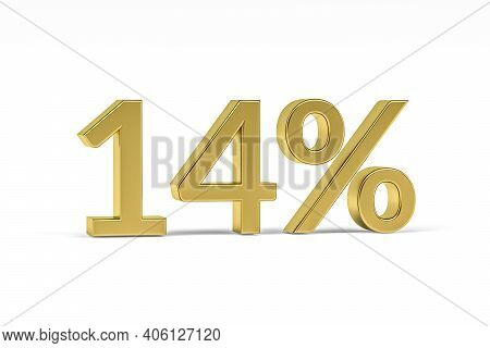 Gold Digit Fourteen With Percent Sign - 14% Isolated On White - 3d Render