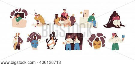 People With Mental Health Problems And Psychological Disorders Such As Anxiety, Bipolar, Panic Attac