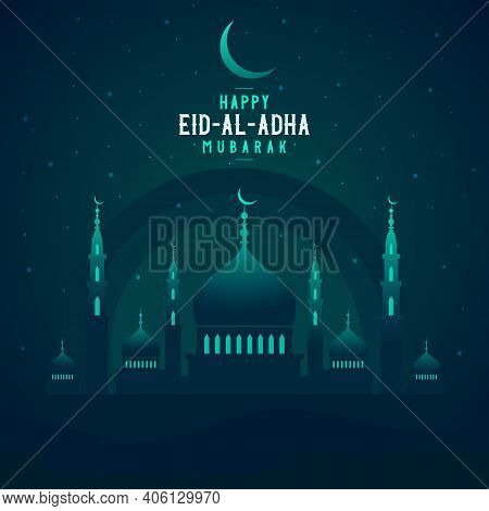 Abstract Religious Happy Eid Al Adha Mubarak Islamic Vector Illustration With Mosque, Moon And Star.