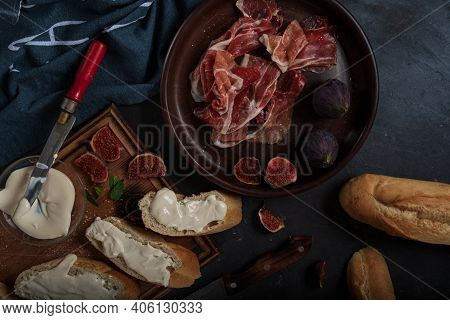 Tapas With Ham And Cream Cheese. Top View