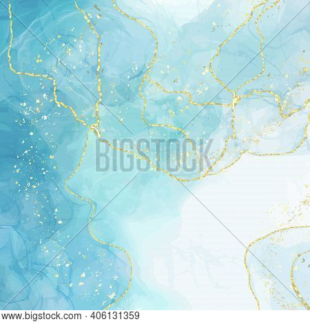 Abstract Blue Liquid Watercolor Background With Golden Crackers. Pastel Marble Ink Drawing Effect. T