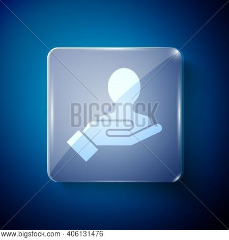 White Hand For Search A People Icon Isolated On Blue Background. Recruitment Or Selection Concept. S