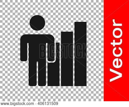 Black Productive Human Icon Isolated On Transparent Background. Idea Work, Success, Productivity, Vi