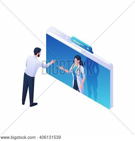 Doctors Online Advice And Guidance Isometric Vector Illustration. Female Character In White Coat Fro