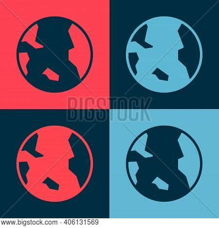 Pop Art Earth Globe Icon Isolated On Color Background. World Or Earth Sign. Global Internet Symbol.