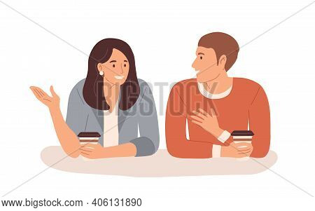 Young People With Hot Drinks Talking During Coffee Break. Smiling Man And Woman Chatting. Colored Fl