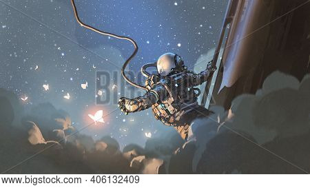 The Astronaut Reaching Out To Catch The Glowing Butterfly In The Sky, Digital Art Style, Illustratio