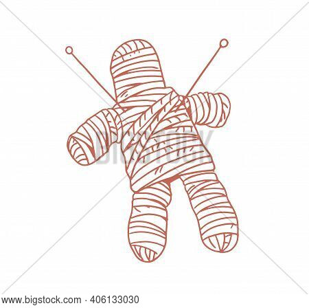 Voodoo Doll Pierced With Needles And Stabbed With Pins For Witchcraft, Wizardry And Casting Spells O