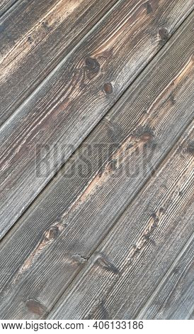 Texture Background Of Six Wooden, Dark, Aged Boards In Close Plan, Located Diagonally In The Directi