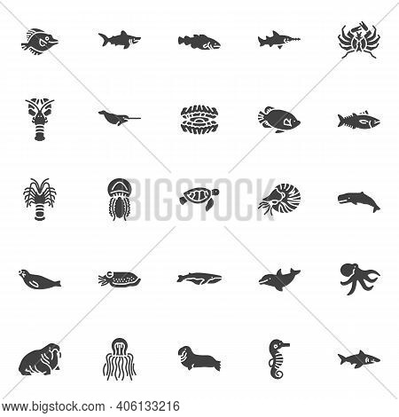 Marine Life Vector Icons Set, Modern Solid Symbol Collection, Filled Style Pictogram Pack. Signs, Lo