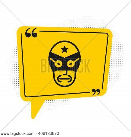 Black Mexican Wrestler Icon Isolated On White Background. Yellow Speech Bubble Symbol. Vector