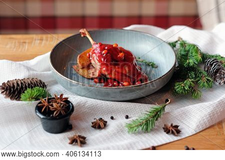 A Sumptuous Poultry Dish For Dinner Is Duck Breast, Fried As A Medium Rarity And Served With Baked P
