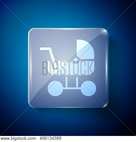 White Baby Stroller Icon Isolated On Blue Background. Baby Carriage, Buggy, Pram, Stroller, Wheel. S