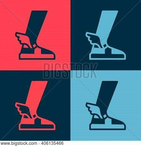 Pop Art Hermes Sandal Icon Isolated On Color Background. Ancient Greek God Hermes. Running Shoe With