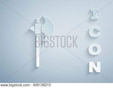 Paper Cut Medieval Axe Icon Isolated On Grey Background. Battle Axe, Executioner Axe. Medieval Weapo