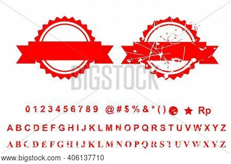 Template 2 Different Style Blank Red Rust Circle With Ribbon Stamp, Isolated On White.