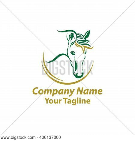 Stylish Horse Head Outline For Stable, Farm, Club Race Design. Running Stallion For Equestrian Sport
