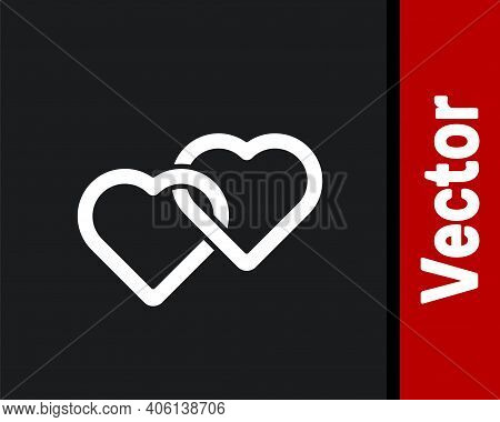 White Two Linked Hearts Icon Isolated On Black Background. Romantic Symbol Linked, Join, Passion And