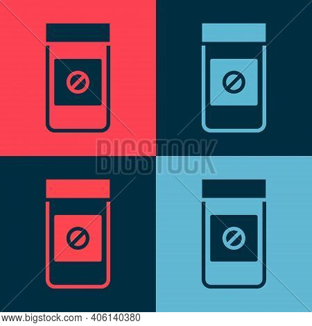 Pop Art Sports Doping, Anabolic Drugs Icon Isolated On Color Background. Anabolic Steroids Tablet. P