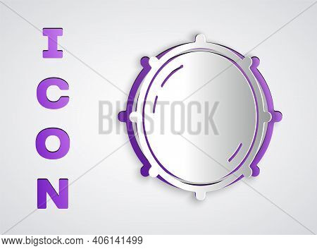 Paper Cut Dial Knob Level Technology Settings Icon Isolated On Grey Background. Volume Button, Sound