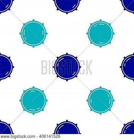 Blue Dial Knob Level Technology Settings Icon Isolated Seamless Pattern On White Background. Volume
