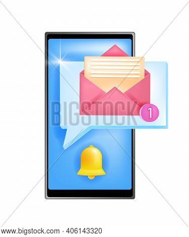 New Notification Icon Vector Alert Illustration With Notice Bell, Smartphone Screen, Opened Envelope