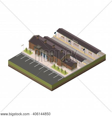 Railway Station Isometric. Vector Isometric Element Representing Railway(train) Station With Parking