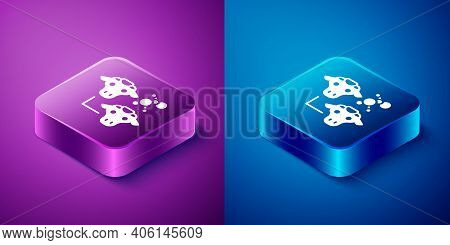 Isometric Cloning Icon Isolated On Blue And Purple Background. Genetic Engineering Concept. Square B
