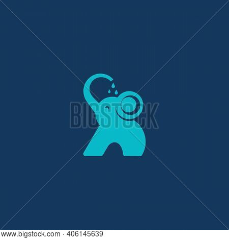 The Elephant Pours Water On Itself. Logo, Emblem Or Symbol. Vector Illustration. Concept Of Love For