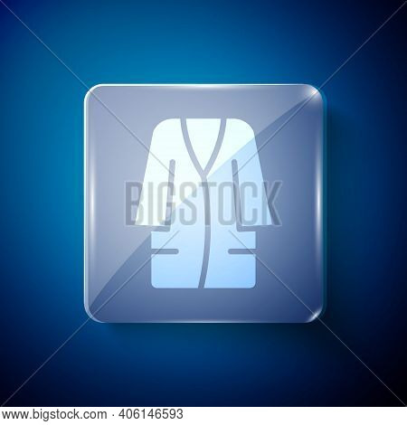 White Bathrobe Icon Isolated On Blue Background. Square Glass Panels. Vector