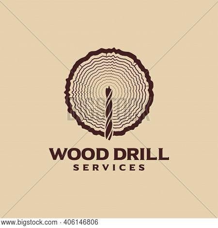 Wood Drill Logo Symbol Of Industrial Carpentry
