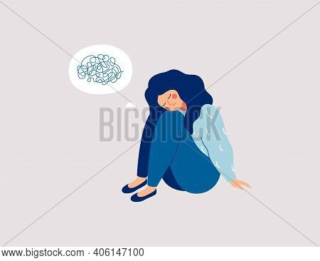 Sad Girl Sits On The Floor With Tangled Thoughts. The Unhappy Child Has Confused Thinking. The Depre