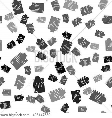 Black Oath On The Holy Bible Icon Isolated Seamless Pattern On White Background. The Procedure In Co