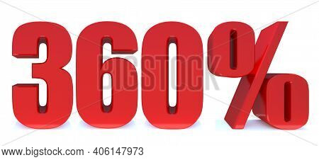 360 Percent Off 3d Sign On White Background, Special Offer 360% Discount Tag, Sale Up To 360 Percent