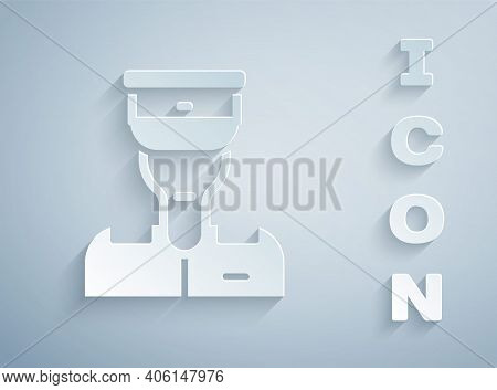 Paper Cut Train Conductor Icon Isolated On Grey Background. Paper Art Style. Vector