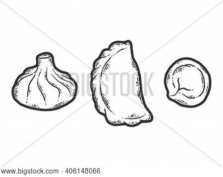 Different Dumplings Types And Styles. Dumplings And Khinkali.