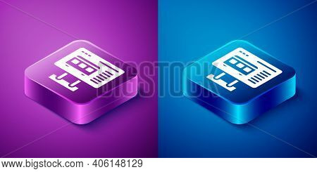 Isometric Ticket Office To Buy Tickets For Train Or Plane Icon Isolated On Blue And Purple Backgroun