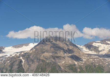 Clouds Over Summit At Grossglockner Mountain Range View From Taxenbacher Fusch High Alpine Road In A