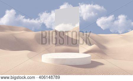 3d Stone Pedestal Premium Podium With Mirror Behind. Sand Dunes Background. Minimal Abstract Cosmeti