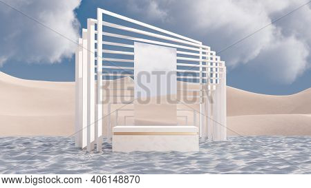 Abstract Minimal Scene With Geometric Forms And Product Podium. Minimal Mockup Background For Produc
