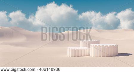 Premium Minimal Product Podium With Architecture Columns On Sand Dunes. 3d Rendering Cosmetic Podium