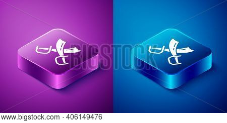 Isometric Crossed Pirate Swords Icon Isolated On Blue And Purple Background. Sabre Sign. Square Butt