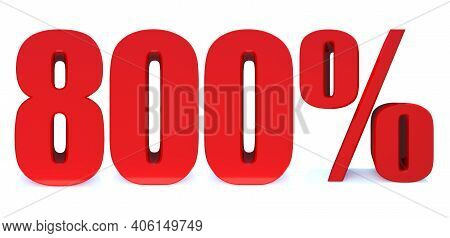 800 Percent Off 3d Sign On White Background, Special Offer 800% Discount Tag, Sale Up To 800 Percent
