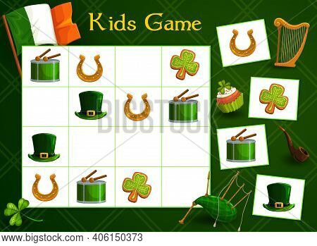 Kids Game Vector Riddle With Cartoon St Patricks Day Elements Lucky Clover Gingerbread, Gold Horsesh